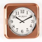 Square Metal Wall Clock Copper Finish Arabic Dial 32cm
